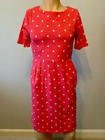 Joules Dress Tunic Top UK Size 12 Womens Ladies Pink White Spotty Pockets Autumn