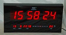 LED - Wanduhr rot groß mit Datum & Temperaturanzeige günstig modern Led-Uhr Uhr