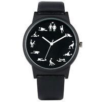 Creative Fun Quartz Watch for Men Black Dial Quartz Wristwatch Leather Strap