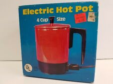 Vintage Electric Hot Water Coffee Pot Enamel Aluminum 4 Cup Red Valiant New Old