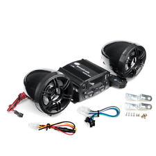 Motorcycle Handlebar Audio System FM TF USB MP3 Radio 2 Speakers Player Black US