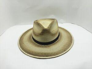 "NEW STETSON SANDY BAY PALM STRAW MENS HAT 3 3/4"" BRIM 4"" CROWN SLAME /BURNED"