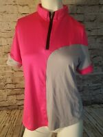 Jamie Sadock women's golf shirt Small Pink/Gray Short Sleeve 1/4 Zip t10