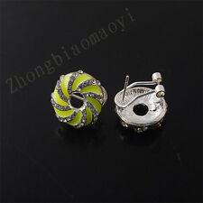 Yellow Women Fashion Jewelry Crystal Rhinestone Doughnuts Ear Stud Earring