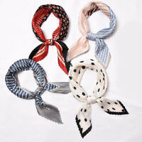 Pleated Small Square Scarf Bandana Silk Satin Print Head Neck Wear Handkerchief
