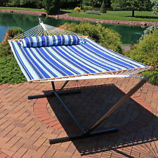 Sunnydaze Quilted Fabric Hammock Bed with 12 Foot Stand - Catalina Beach