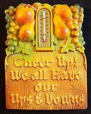 Chalk Ware Vntg Plaster Wall Thermometer Fruit Motif Cheer Up 1968 Miller Studio