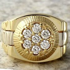1.25Ct Natural Diamond 14K Solid Yellow Gold Men's Ring