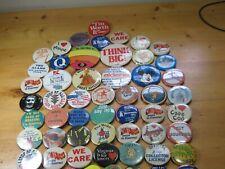 Vintage Lot Assortment 68 Pinbacks Pins Buttons 1970s 1980s 1990s