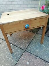 Antique Pine Child's Desk Table Low Side Table with Centre Draw