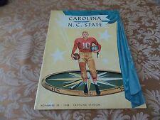 11 22 1958 COLLEGE FOOTBALL program CAROLINA VS NORTH CAROLINA STATE