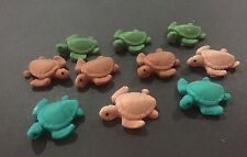 10 x Edible SEA TURTLE 3D EDIBLE CAKE TOPPERS cupcake - CHOOSE YOUR COLOURS