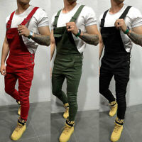 Mens Denim Dungarees Jumpsuit Ripped Jeans Overalls Cargo Long Pants Trousers
