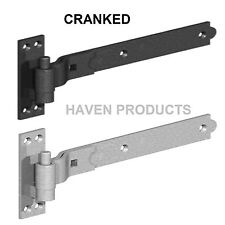Heavy Duty Hook  Band Gate Shed Stable Door CRANKED Hinges BLACK VARIOUS SIZE D1