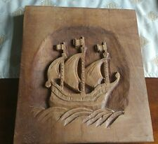 Dutch Folk Art Hand Naive Carved Wooden Barque Tall Sailing Ship