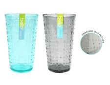 Set of 4/6/8 Tall Tumbler Glasses Reusable Grey Blue Embossed Summer Party BBQ