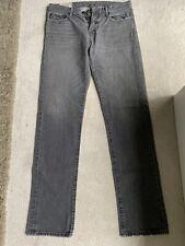 Abercrombie & Fitch Delgado Jeans Botón Frontal Gris W32 L34