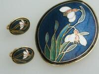 SIGNED fish 80's vintage CLOISONNE enamel SNOWDROP FLOWER brooch & CLIP earrings