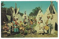 INDIAN VILLAGE Native American Adults, Children Teepees Tepees Vintage Postcard