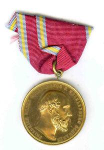 MECKLENBURG-SCHWERIN GOLDEN CIVIL MERIT MEDAL 1872-1918 LARGE TYPE BRONZE GILT