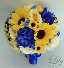 17 Piece Package Silk Flower Wedding Bridal Bouquet ROYAL DARK BLUE YELLOW IVORY