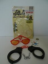 Vintage The Lone Ranger Action Set Glasses Hand Cuffs Keys & Badge with Package
