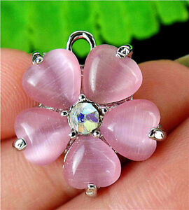 23x20x5mm Alloy Insert Pink Cat Eye Gemstone Flower Pendant Bead BT90541