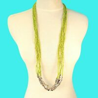 """32"""" LONG Multi Strand Green Handmade Silver Tone Seed Bead Necklace"""