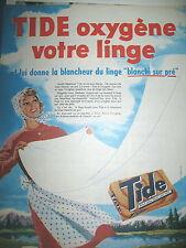 PUBLICITE DE PRESSE TIDE LESSIVE LA BLANCHEUR DU LINGE FRENCH AD 1961