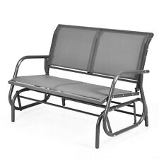 "48"" Outdoor Patio Swing Glider Bench Chair Loveseat Rocker Lounge Outdoor Grey"