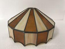 Vintage Amber Slag Glass Swag Lamp Light Shade Orange Mid Century Tiffany Style