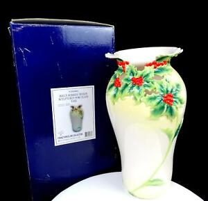 """FRANZ PORCELAIN #F200443 HOLLY BERRY COLLECTION LARGE 13 1/4"""" VASE IN BOX"""