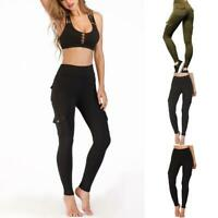 Women Fashion Eco-Friendly Bamboo Pockets Stretchy Soft Leggings Pants Yoga G3J7