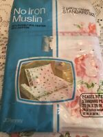 VTG Fashion Manor JC Penney 2 Pillowcases Pink Roses No Iron Muslin