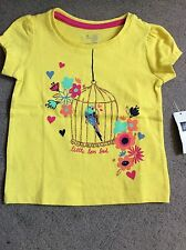 GAP - YELLOW T SHIRT WITH BIRD CAGE AND COLOURED LOVE BIRD & FLOWERS-12-18m BNWT