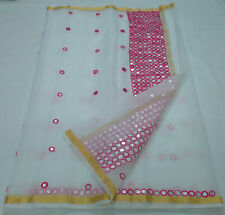 Women's Ethnic Wear Kota Pure Cotton White Saree with Pink thread Work