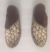 Stephane Kelian Paris Mules/Slide BROWN AND WHITE WOVEN LEATHER.  SZ 7