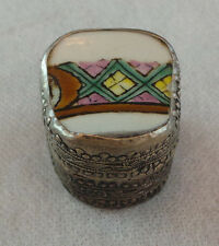 SOUTHWEST STYLE SILVER & ENAMEL PILL BOX  MADE IN CHINA