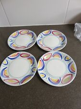Poole hand painted retro abstract side plates- four in total