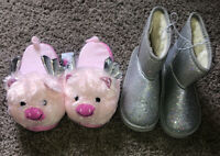 BOBBIE BROOKS NEW W/TAGS YOUTH GIRLS SIZE 2/3 Piggy Slippers & Size 2 Boots