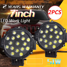2X7inch 51W LED Work Light Round Driving Lamp Jeep Motor Spot CREE SUV 4WD Black