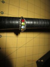 Vintage Sterling Silver Multi 5 Birthstone and Marcasites Mothers Ring Size 7 .5