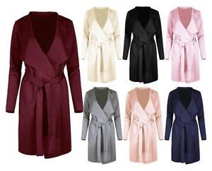 Ladies Women's Blazers Italian Waterfall Wrap Belted Long Sleeve Blazer/Coat