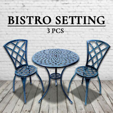 Outdoor Cast Aluminium Bistro Table Chair Setting 3 pcs Vintage Green Verdigris