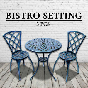 Outdoor Cast Aluminium Bistro Table Chair Setting 3 pcs Vintage Green Verdigris