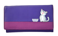 MALA Leather Cat Purse Purple Ladies Large BiFold Coin Card Holder Wallet Purses