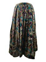 Vintage Women Skirt Aline Floral Print Pleated High Waist Pure Wool Blogger 10