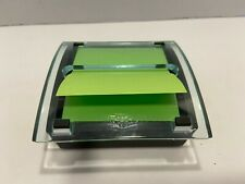 Post It Notes Dispenser Heavy Glass Holder Cover Paperweight Sticky Notes