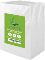 Premium!! VacYaYa 200 Quart Size 8 x 12 Inch Vacuum Sealer Freezer Storage Bags