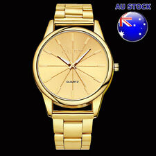 Gold Plated Dial Case With Gold Tone Metal Bracelet Men's Watch